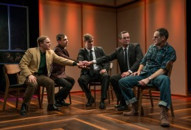 """The Tempermentals"" by Jon Marans, at About Face Theatre in Chicago, through Feb. 18. Pictured: Alex Weisman, Lane Anthony Flores, Kyle Hatley, Rob Lindley, and Paul Fagen. (Photo by Michael Brosilow)"