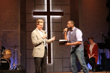"""""""The Christians"""" by Lucas Hnath, at Gulfshore Playhouse in Naples, Fla., through May 21. Pictured: Alan Campbell and William Oliver Watkins."""