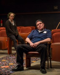 """""""The Flick"""" by Annie Baker, at the Steppenwolf Theatre in Chicago, through May 8. Pictured: Caroline Neff and Danny McCarthy. (Photo by Michael Brosilow)"""