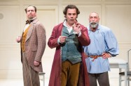 """The Gospel According to Thomas Jefferson, Charles Dickens and Count Leo Tolstoy: Discord"" by Scott Carter, at Lantern Theater Company in Philadelphia through July 9. Pictured: Brian McCann, Gregory Isaac, and Andrew Criss."