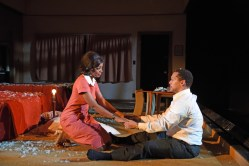 """The Mountaintop"" by Katori Hall, at Trinity Repertory Company in Providence, R.I., through Feb. 12. Pictured: Mia Ellis and Joe Wilson, Jr. (Photo by Mark Turek)"