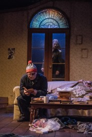 """""""The Night Alive"""" by Conor McPherson, at Dobama Theatre in Cleveland Heights, Ohio in 2017. Pictured: David Peacock and Val Kozlenko. (Photo by Steve Wagner Photography)"""