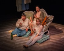"""""""The Rules"""" by Dipika Guha, at San Francisco Playhouse through July 16. Pictured: Amy Lizardo, Karen Offereins, and Sarah Moser. (Photo by Ken Levin)"""