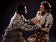 """The Whipping Man"" by Matthew Lopez, at Pacific Conservatory Theatre in Santa Maria, Calif., through March 26. Pictured: Antwon D. Mason Jr. and Matt Koenig. (Photo by Luis Escobar Reflections Photography Studio)"