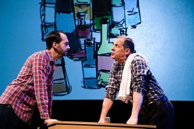"""""""The White Chip"""" by Sean Daniels, at Merrimack Repertory Theatre in Lowell, Mass., through Jan. 31. Pictured: Jeffrey Binder and Benjamin Evett. (Photo by Meghan Moore)"""