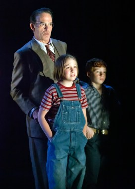 """""""To Kill a Mockingbird,"""" adapted by Christopher Sergel from Harper Lee, at Cincinnati Playhouse in the Park in Cincinnati, Ohio, through April 10. Pictured: John Feltch, Brooke Chamberlin, and Aidan McCracken. (Photo by Mikki Schaffner)"""