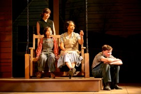 """To Kill a Mockingbird"" adapted by Christopher Sergel from Harper Lee, at Syracuse Stage in Syracuse, N.Y., through March 26. Pictured: Sera Bullis, Perri Gaffney, Barbra Wengerd, and Matthew Caraccioli. (Photo by Mike Davis)"