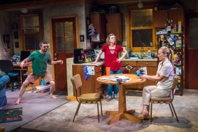 """""""Trevor"""" by Nick Jones, at Artists Repertory Theatre in Portland, Ore., through Oct. 9. Pictured: John San Nicolas, Sarah Lucht, and Vonessa Martin. (Photo by Owen Carey)"""