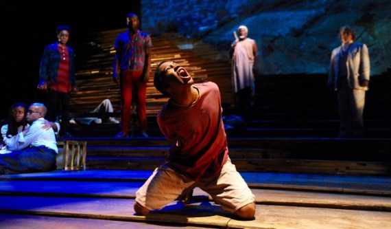 """Unexplored Interior"" by Jay O. Sanders, at Mosaic Theater Company in Washington D.C. through Nov. 29. Pictured: ""Wood Boy Dog Fish"" adapted by the Rogue Artists Ensemble from Carlo Collodi, at Bootleg Theater in Los Angeles through Dec. 12. Pictured: Isaiah Mays and cast. (Photo by Stan Barouh)"