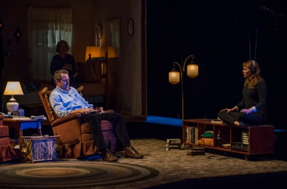 """Visiting Edna"" by David Rabe, at Steppenwolf in Chicago through Nov. 6. Pictured: Debra Monk, Ian Barford, and Sally Murphy. (Photo by Michael Brosilow)"