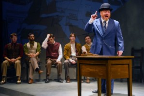 """""""Waiting for Lefty,"""" by Clifford Odets and Levi Alpert, at Connecticut Repertory Theatre in Storrs, Conn., through March 5. Pictured: Harry Fatt and cast. (Photo by Gerry Goodstein)"""