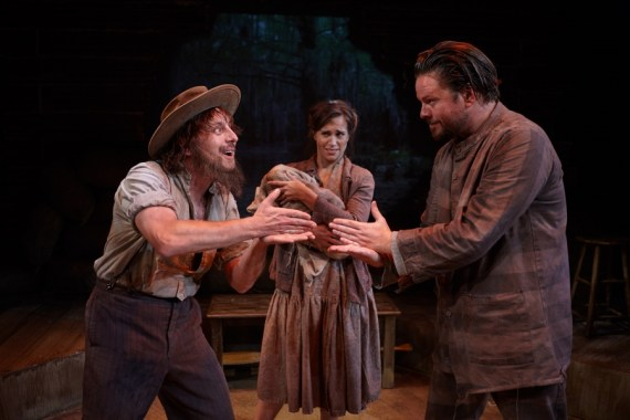 """""""Way Down River: William Faulkner's Old Man"""" adapted by Edward Morgan from Faulkner, at North Coast Repertory Theatre in Solana Beach, Calif., through May 8. Pictured: Geno Carr, Sara Fetgatter, and Richard Baird."""