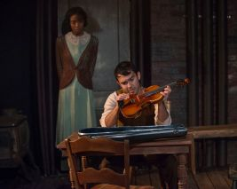 """Winterset"" by Maxwell Anderson, at Griffin Theatre Company in Chicago through Dec. 23. Pictured: Kiayla Jackson and Chris Acevedo. (Photo by Michael Brosilow)"