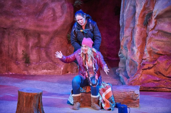"""""""Women in Jeopardy"""" by Wendy MacLeod, at Aurora Theatre in Lawrenceville, Ga., through Oct. 23. Pictured: Kerrie Seymour and Caroline Arapoglou. (Photo by Chris Bartelski)"""