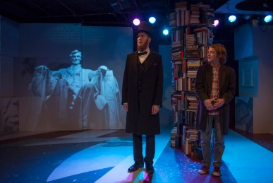 """""""Abraham Lincoln Was A F*gg*t"""" by Bixby Elliot, at About Face Theatre in Chicago through July 5. Pictured: Nathan Hosner and Matt Farabee. (Photo by Michael Brosilow)"""