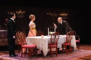 """""""An Inspector Calls"""" by J.B. Priestley, at Everyman Theatre in Baltimore through Oct. 11. Pictured: Chris Genebach and Deborah Hazlett. (Photo by Stan Barouh)"""