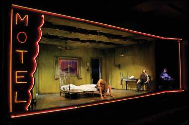 """Jennifer Blagan, Terry Hempleman, and Allen Hamilton in """"Fool for Love"""" by Sam Shepard at the Jungle Theater. (Photo by Michal Daniel)"""