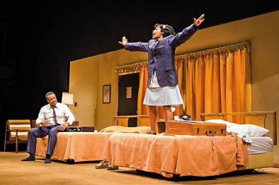 """Shawn Hamilton and Myxolydia Tyler in Katori Hall's """"The Mountaintop,"""" at Center Stage in 2012. (Photo by Richard Anderson)"""