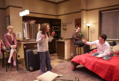 """""""Bad Jews"""" by Joshua Harmon, at Theater Wit in Chicago through Oct. 4. Pictured: Erica Bittner, Laura Lapidus, Ian Paul Custer, and Cory Kahane. (Photo by Charles Osgood)"""