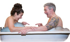 """""""Balls Deep(er) in Love,"""" written and performed by Lisa Burl and James McGarvey, at Maryland Ensemble Theatre in Frederick, Md., through Aug. 22. Pictured: Burl and McGarvey."""