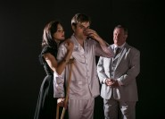 """""""Cat on a Hot Tin Roof"""" by Tennessee Williams, at Triad Stage in Greensboro, N.C., through Sept. 20. Pictured: Christina DeCicco, Patrick Ball, and John O'Creagh."""
