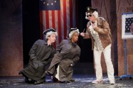 """""""The Complete History of America (Abridged)"""" by Adam Long, Reed Martin, and Austin Tichenor, at Cincinnati Shakespeare Company in Cincinnati, Ohio, through Aug. 15. Pictured: Justin McCombs, Geoffrey Barnes, and Miranda McGee. (Photo by Mikki Schaffner Photography)"""