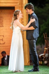 """""""Cymbeline"""" by William Shakespeare, a Public Theater production at the Delacorte Theater in New York City, through Aug. 23. Pictured: Lily Rabe and Hamish Linklater. (Photo by Carol Rosegg)"""