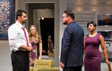 """Disgraced"" by Ayad Akhtar, at Arizona Theatre Company in Phoenix, Ariz., through Nov. 29. Pictured: Elijah Alexander, Allison Jean White, Richard Baird, and Nicole Lewis. (Photo by Tim Fuller)"