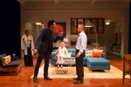 """""""Disgraced"""" by Ayad Akhtar, at Long Wharf Theatre in New Haven, Conn., through Nov. 8. Pictured: Shirine Babb, Benim Foster, Nicole Lowrance, and Rajesh Bose. (Photo by T. Charles Erickson)"""