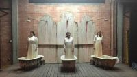 """""""The Drowning Girls"""" by Beth Graham, Charlie Tomlinson, and Daniela Vlaskalic, at Mildred's Umbrella Theater Company in Houston through Aug. 1. Pictured: Miranda Herbert, Patricia Duran, and Courtney Lomelo. (Photo by Jon Harvey)"""
