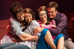 """""""Double Trouble,"""" adapted by David S. Craig from Eric Kästner, at Imagination Stage, in Bethesda, Md., through Aug. 14. Pictured: Amaree Cluff, Sarah Lasko, Lauren Williams and Jamie Smithson. (Photo by Margot Schulman)"""