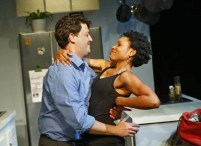 """""""The Firestorm"""" by Meridith Friedman, at Kitchen Dog Theater in Dallas through June 27. Pictured: Cameron Cobb and Kenneisha Thompson. (Photo by Nathan Hunsinger)"""