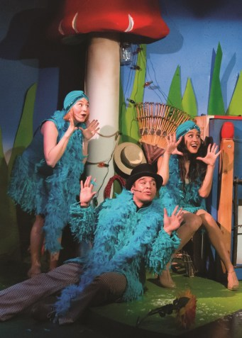 """A Year With Frog and Toad"" by Willie Reale, Robert Reale, and Arnold Lobel, at Coterie Theatre in Kansas City, Mo., through Aug. 2. Pictured: Seth Elise Poehling, Francisco Javier Villegas, and Emily Shackelford. (Photo by J. Robert Schraeder)"