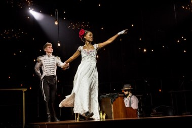 """Lucas Steele and Denée Benton in """"Natasha, Pierre & the Great Comet of 1812."""" (Photo by Chad Batka)"""