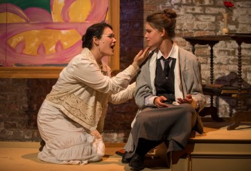 """Loving Repeating,"" adapted by Frank Galati and Stephen Flaherty from Gertrude Stein, a Kokandy Productions production at Theatre Wit in Chicago through Aug. 30. Pictured: Emily Goldberg and Amanda Giles. (Photo by Michael Brosilow)"
