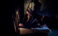 """""""Moby Dick,"""" adapted by James Armstrong from Herman Melville, at Wellfleet Harbor Actors Theatre in Wellfleet, Mass., through July 18. Pictured: Lee Seymour and Wesley Volcy. (Photo by Michael & Suz Karchmer)"""