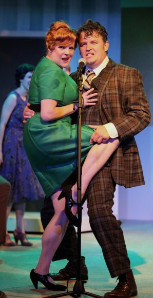 """One Man, Two Guvnors"" by Richard Bean, Carlo Goldoni, and Grant Olding, at Cincinnati Shakespeare Company in Cincinnati, Ohio, through July 5. Pictured: Matthew Lewis Johnson and Miranda McGee. (Photo by Mikki Schaffner Photography)"