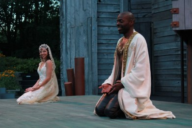 """""""Othello"""" by William Shakespeare, at American Players Theatre in Spring Green, Wis., through Oct. 3. Pictured: Laura Rook and Chiké Johnson. (Photo by Carissa Dixon)"""