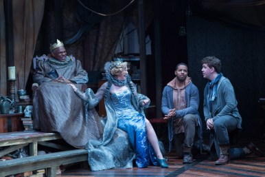 """Rosencrantz and Guildenstern Are Dead"" by Tom Stoppard, at Folger Theatre in Washington, D.C., through June 21. Pictured: Craig Wallace, Kimberly Schraf, Romell Witherspoon and Adam Wesley Brown. (Photo by Teresa Wood)"