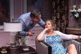 """""""Saving Kitty"""" by Marisa Smith, at Central Square Theater in Cambridge, Mass., through Aug. 2. Pictured: Alexander Cook and Jennifer Coolidge. (Photo by A.R. Sinclair Photography)"""