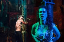 """""""Seawife,"""" a Naked Angels production at the Melville Gallery in the South Street Seaport Museum in New York City through July 19. Pictured: Will Turner and Eloïse Eonnet. (Photo by Caitlin McNaney)"""
