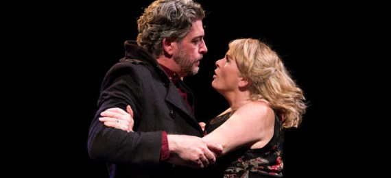 """Karl Shiels and Janet Moran in Fishamble's 2012 production of """"Spinning"""" by Deirdre Kinahan. (Photo by Pat Redmond)"""
