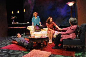 """The Tale of the Allergist's Wife"" by Charles Busch, at Theatre J in Washington, D.C., through July 5. Pictured: Paul Morella, Lise Bruneau, Susan Rome and Barbara Rappaport. (Photo by Stan Barouh)"