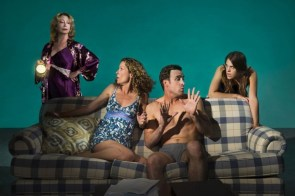 """""""The Country House"""" by Donald Margulies, at TheatreWorks in Mountain View, Calif., through Sept. 20. Pictured: Kimberly King, Marcia Pizzo, Jason Kuykendall, and Roselyn Hallett. (Photo by Kevin Berne)"""