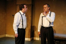 """""""The Dumb Waiter"""" by Harold Pinter, at Kitchen Dog Theater in Dallas through Oct. 10. Pictured: Michael Federico and Christopher Carlos. (Photo by Andy Jacobsohn)"""