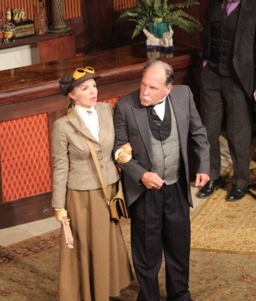 """""""The Explorer's Club"""" by Nell Benjamin, a production of the Village Repertory Company at the Woolfe Street Playhouse in Charleston, S.C., through May 23. Pictured: Mary Fishburne and Nat Jones."""