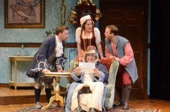 """The Heir Apparent"" by David Ives, at International City Theatre in Long Beach, Calif., through July 12. Pictured: Wallace Angus Bruce, Paige Lindsey White, Adam J. Smith, and Matthew Henerson. (Photo by Suzanne Mapes)"