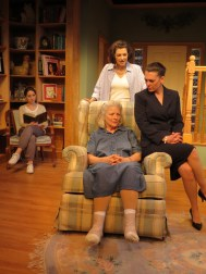 """""""The Realization of Emily Linder"""" by Richard Strand, at New Jersey Repertory in Long Branch, N.J., through May 24. Pictured: Dana Benningfield, Jenny Vallancourt, Marnie Andrews and Corey Tazmania."""