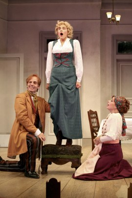 """The Underpants"" by Steve Martin, at Syracuse Stage in Syracuse, N.Y. through Nov. 8. Pictured: Daniel Passer, Marianna McClellan, and Sabrina Profitt. (Photo by Michael Davis)"