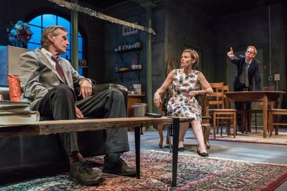 """""""Time Stands Still"""" by Donald Margulies, at Wellfleet Harbor Actors Theatre in Wellfleet, Mass. through Sept. 26. Pictured: Graeme Malcolm, Shannon Koob, and John Long. (Photo by Michael and Suz Karchmer)"""